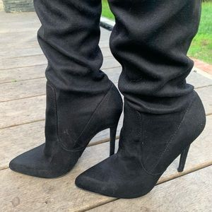 Over-knee black faux suede boots